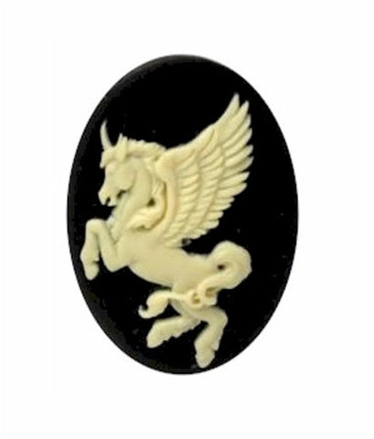 25x18mm Black and Ivory Unicorn Resin Cameo 900x