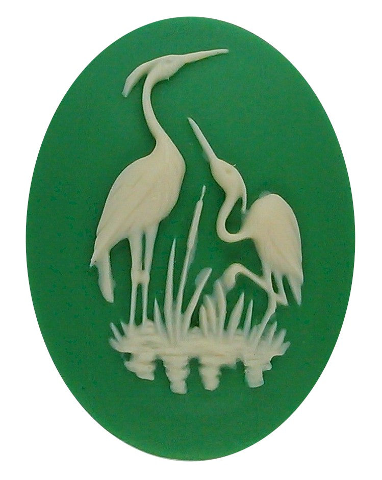 40x30mm green and ivory heron stork resin cameo 902q