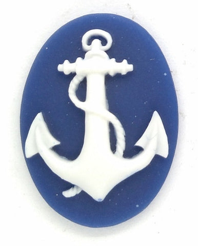 25x18mm Anchor Resin Cameo Blue Sailor Navy Marine 902x