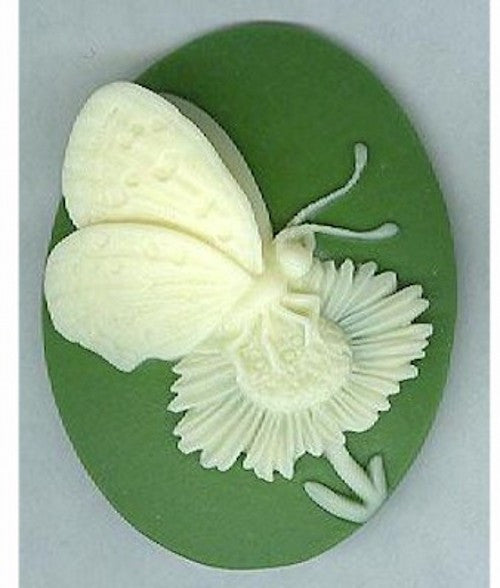 Item#903q Acrylic 40x30 green butterfly cameo