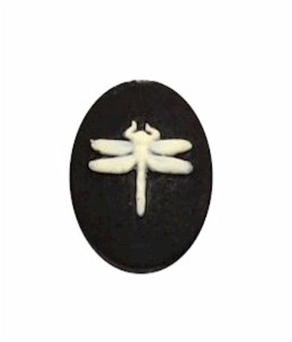 18x13mm Dragonfly Resin Cameo Black Ivory loose cabachon 903x