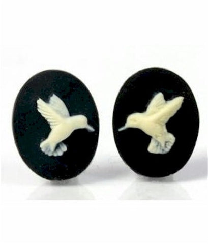 18x13mm Hummingbird matched pair of resin cameos black cream 905x