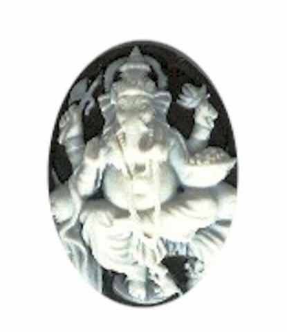25x18mm Black and White Hindu Genisha God Resin Cameo 907R