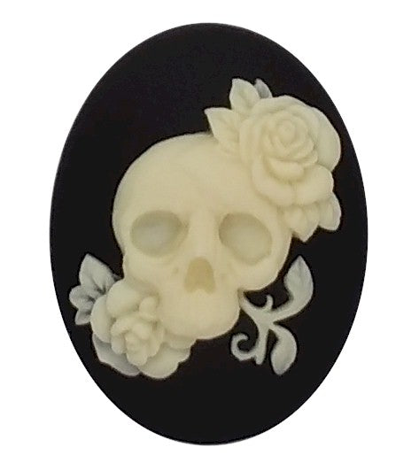40x30mm Skull & Rose Black Ivory Resin Cameo Goth Cabachon Day of the Dead 909x