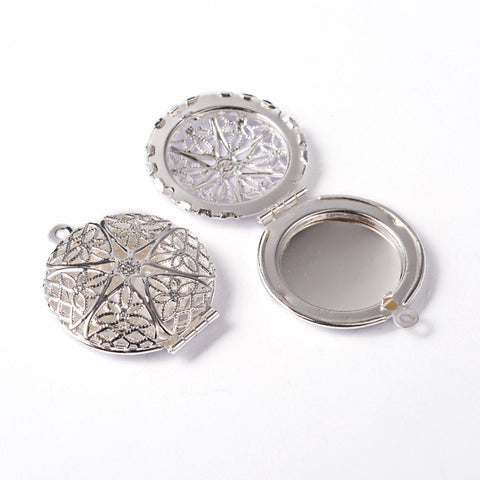 Round Silver Filigree Perfume Scent Locket Aroma Locket 27mm 910q