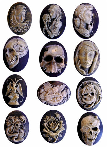 1dz Antiqued Gold Leafed skull cameo 40x30mm Gothic cameos 926x