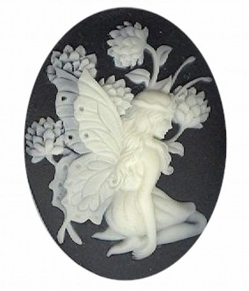 40x30mm Black and Ivory Fairy Resin Cameo 931q