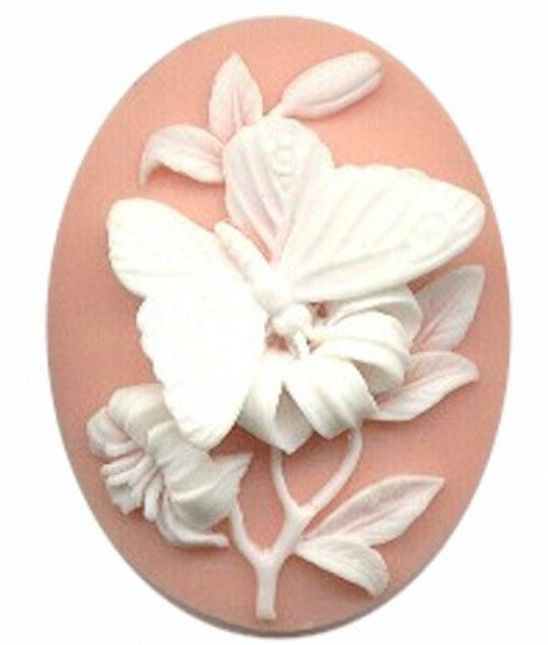 40x30mm pink and white 3-D butterfly resin cameo 934R