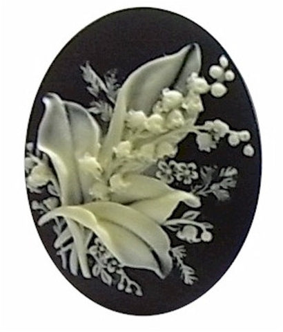 40x30mm lily of the Valley Flower Bouquet Garden Theme Resin Cameo 934x