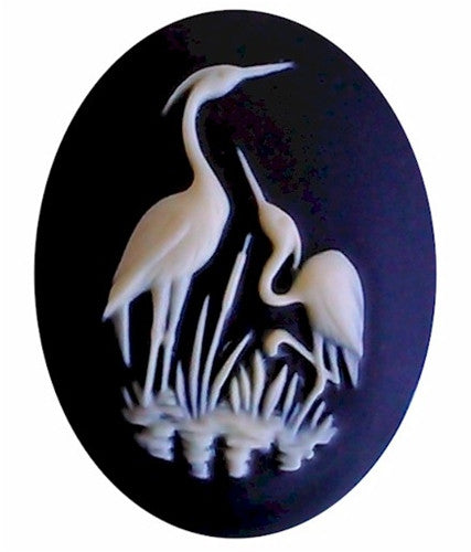 40x30mm Black and Ivory Stork Crane Heron Bird Wildlife Water Fowl Resin Cameo 935x