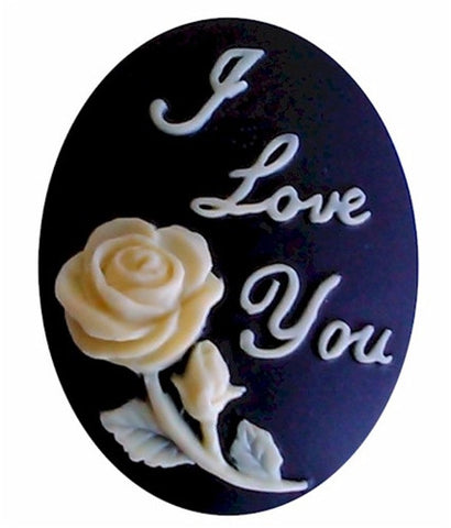 40x30mm Affirmation I Love You with Rose Resin Cameo Black and Crème 937x