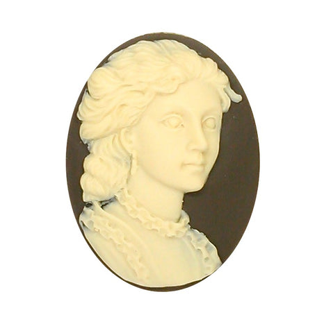 40x30mm Colonial Woman Brown Crème Resin Cameo Suttlery Supply 938x