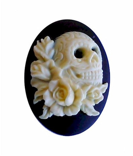 25x18mm Skull and Roses Steampunk Resin Cameo Gotic Theme 939x