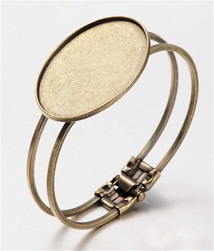 Hinged Cuff Bracelet 40x30mm Cabochon Tray Antique Bronze 950x