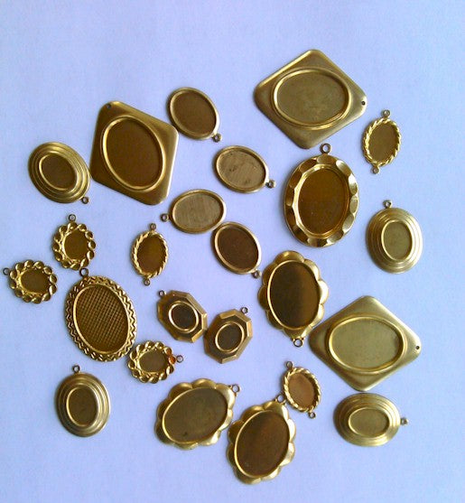 24pcs Bulk Cabochon Settings Mountings Clearance Brass Settings Made in USA 953x