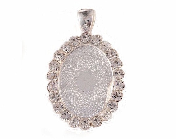 25x18mm Bright Silver Rhinestone Cabochon or Cameo Setting with Bail 959x