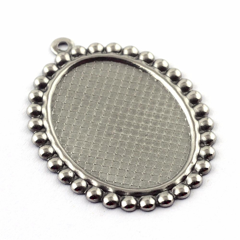 18x13mm Stainless Steel cabochon frame with Ring for diy pendants 965x