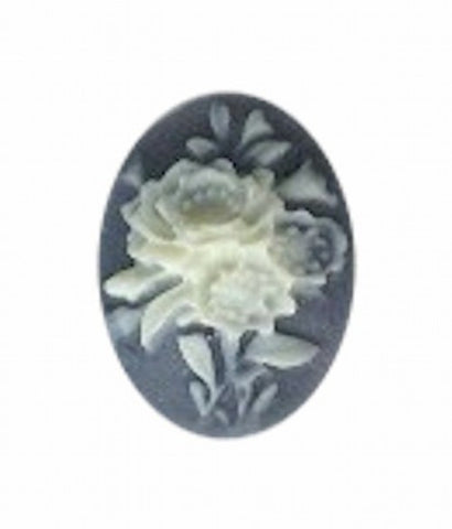 18x13mm Slate blue and ivory resin flower cameo 975R