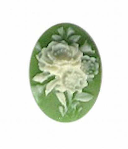 18x13mm Green and Ivory Resin Flower Cameo 976R