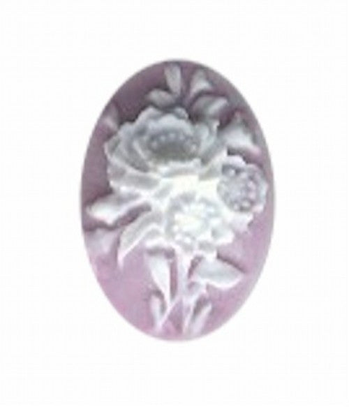 18x13mm Lilac and White Resin Flower Cameo 977R