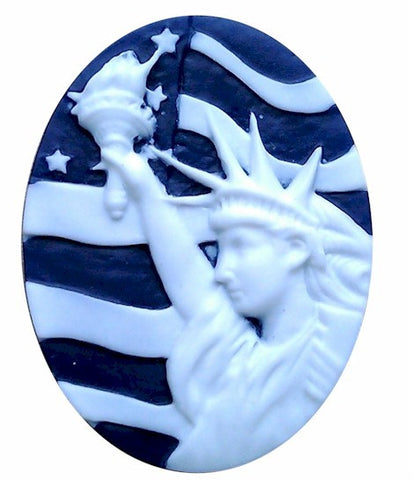 40x30mm Statue of Liberty Cameo Patriotic Cameo Dark Blue Resin Cameo 979x