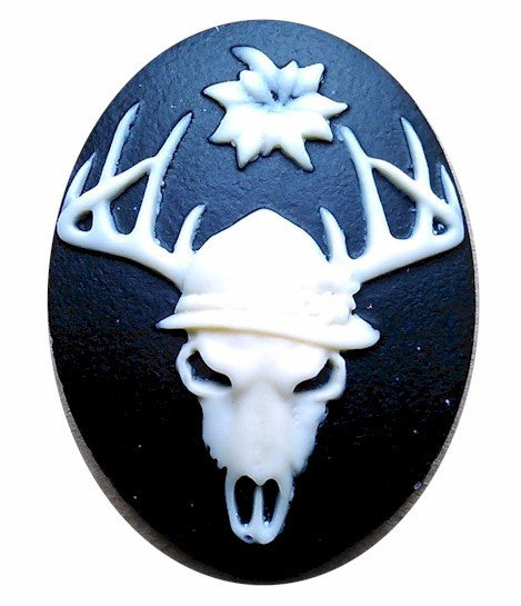 40x30mm Deer Skull with Flower Antler Tattoo Black Resin Cameo 980x