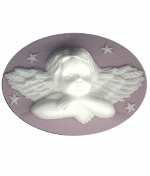 40x30mm Lilac and White Cherub Angel Resin Cameo 981R