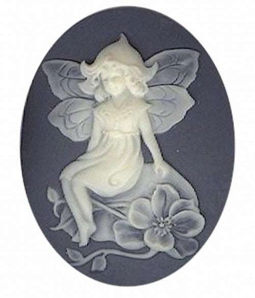 40x30mm slate blue and ivory child fairy resin cameo 981q