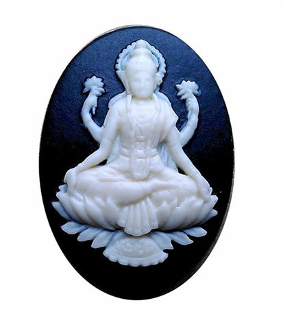 25x18mm Hindu Goddess Lakshmi Wife Of Vishnu Black Resin Cameo 981x