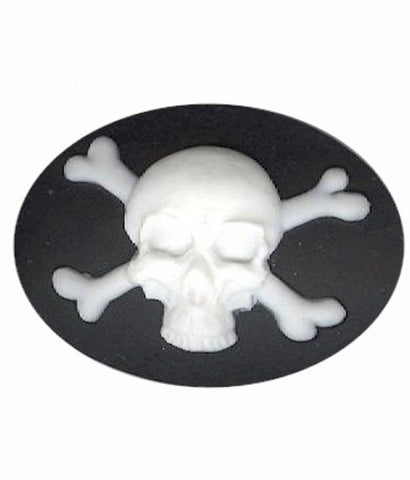 40x30mm black and white skeleton skull with crossbones Pirate Resin Cameo 982q