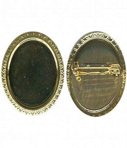 Gold 30x22mm cameo brooch setting with pin 983R