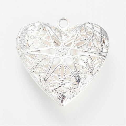 Heart Locket Silver filigree scent armotherapy perfume diffuser locket 989q