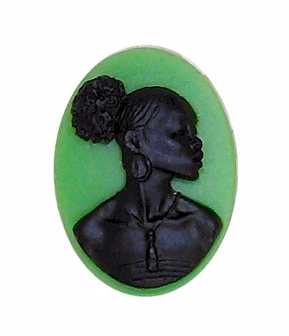 25x18mm Silhouette Cameo Africa Supply Green Cameo Jewelry Afro Ethnic Black Jewelry 995x