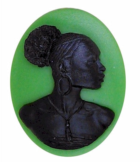 40x30mm Silhouette Cameo Africa Supply Green Cameo Jewelry Afro Ethnic Black Jewelry 996x