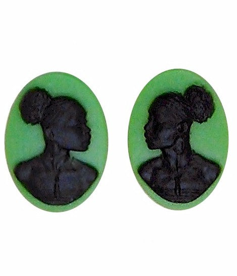 African American Cameo 18x13 Matched Pair Green Black Resin Cameos 997x