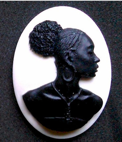 40x30mm African American Cameo Jewelry Black White Backing Afro Ethnic Black Jewelry 998x
