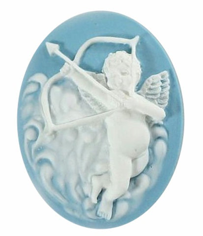 Cupids Arrow Resin Cameo 40x30mm Valentine Theme Angel Cherub Blue White 9c