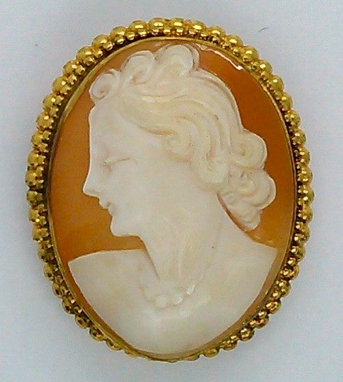 Antique Vintage Hand carved Italian Shell Cameo Brooch Pendant gold filled carnelian pendant necklace combo stamped 12k F157