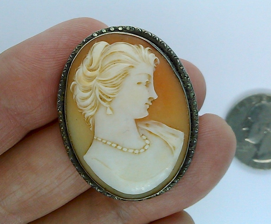 Antique Hand carved Italian Shell Cameo Brooch Pendant Marked 800 Silver Marcasite carnelian conch shell Pin F164