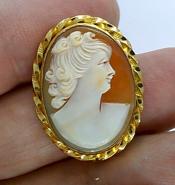 Antique Vintage Hand carved Italian Shell Cameo Brooch Pendant gold filled carnelian pendant necklace combo stamped 12k   F168