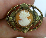 12kt gold filled Antique Vintage Petite Scarf Pin Cameo Brooch Hand carved Italian Shell horizontal collar pin  F172