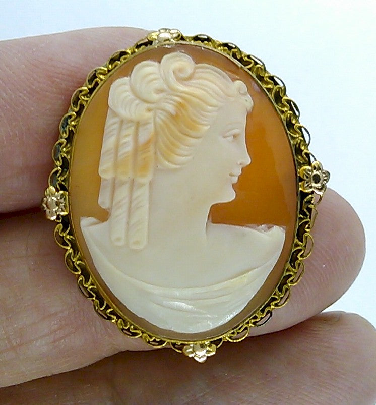 Antique Vintage Hand carved Italian Shell Cameo Brooch Pendant gold filled carnelian pendant necklace combo stamped 12k  F173