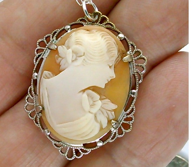 Vintage Italian Cameo Necklace Hand carved carnelian Conch Shell Brooch or Pendant ( sterling silver 18 inch cable necklace )  F177