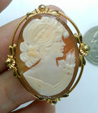 Vintage Van Dell Hand carved Italian Shell Cameo Brooch Pendant gold filled carnelian pendant necklace combo stamped 12k F179