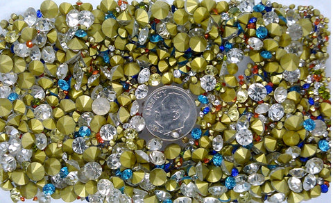 2000+ pcs small GLASS RHINESTONES Clear Colored jewelry repair lot  S2114