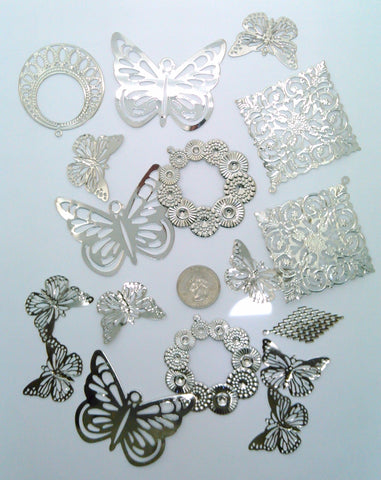 15pcs Lightweight Large Silver Filigree Stampings Pendants Random Mix S2172