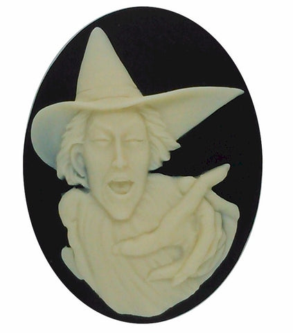 40x30mm Wicked Witch Black Ivory Resin Cameo oval Cabochon Halloween S2177