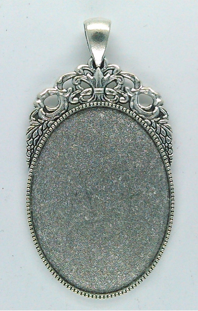 40x30mm Antique Silver Cameo or cabochon Pendant Setting with large bail S2189