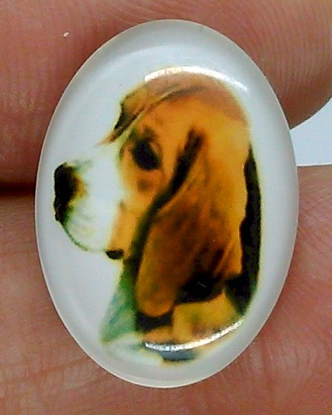 25x18mm Beagle Hound Dog Glass Cabochon Cameo Jewelry Finding S2217