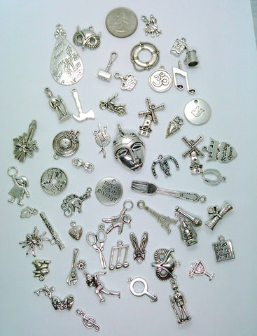 Bulk Lot of Antique Silver Charms mixed tibetan style shapes sizes and styles  L113